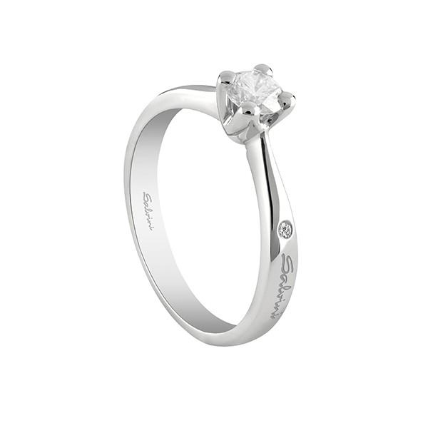Anello Salvini Solitario Oro Bianco Con Diamante