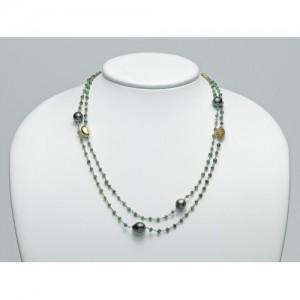 Collana Argento E Perla Citrino E Smeraldo